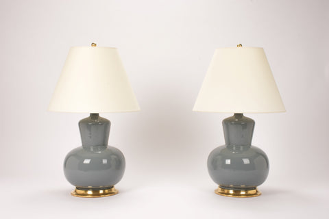 Pair of HB Rena Lamps in Blue Grey