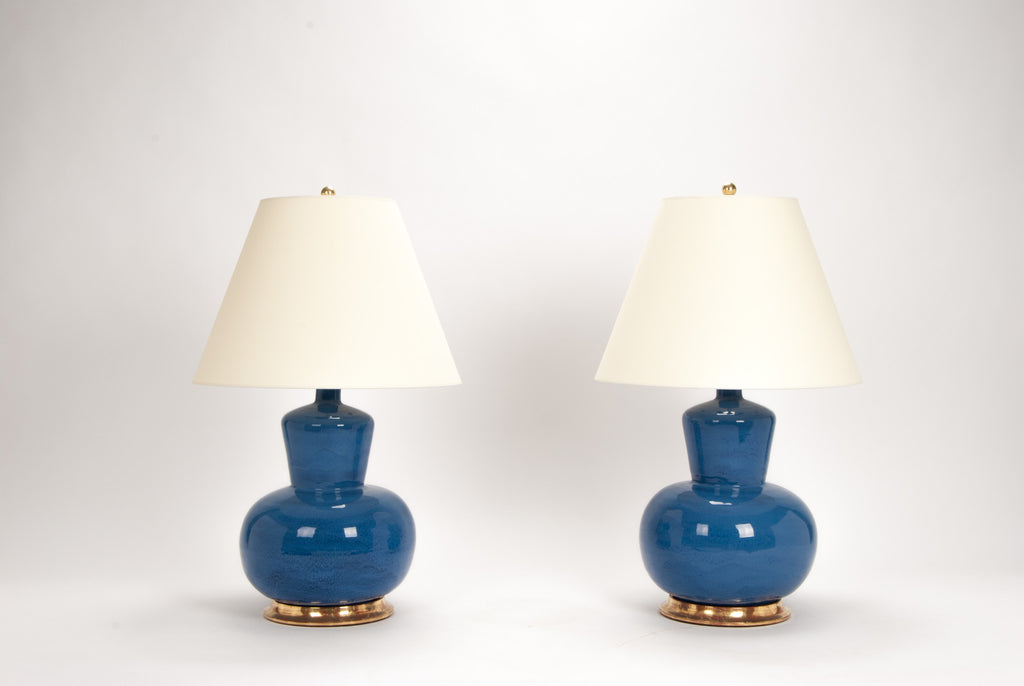 Pair of HB Rena Lamps in Sapphire Blue