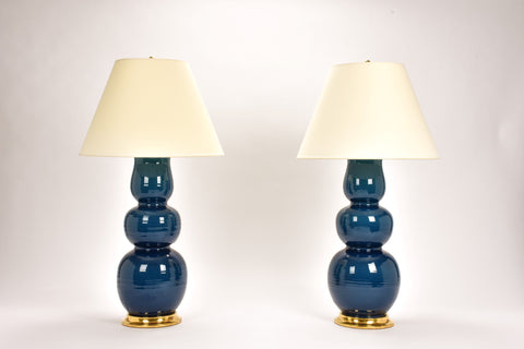 Pair of HT Allen Lamps in Prussian Blue