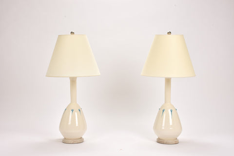 Pair of HT Bottle Lamps with Studs in Clear with Light Blue Drips
