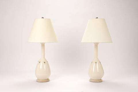 Pair of HT Bottle Lamps with Studs in Clear with Olive Drips