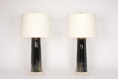 Pair of HT Column Lamps in Woodfired Porcelain