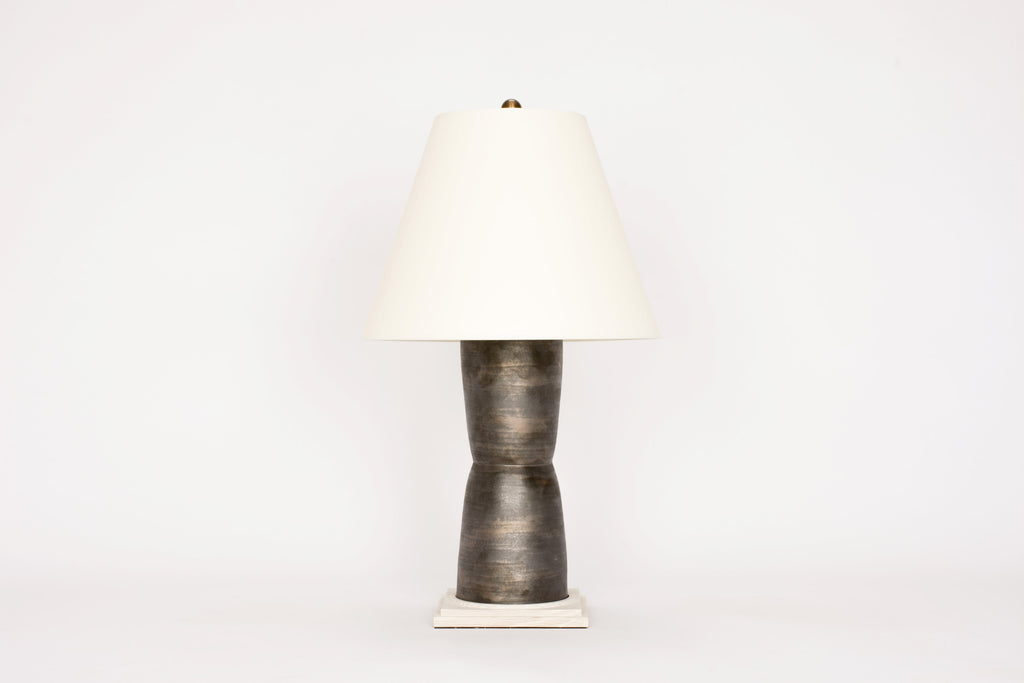 Single HT Modern Hourglass Lamp in Matte Bronze