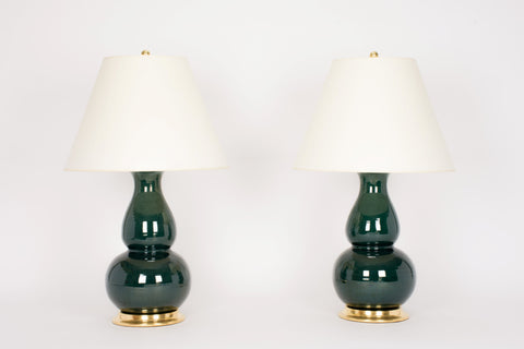 Pair of HT Double Gourd Lamps in Peacock