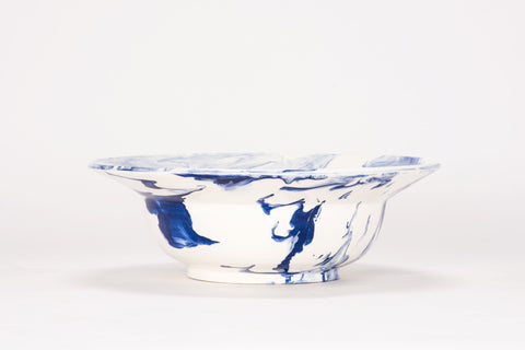HT Low Bowl in Delft Blue Marble