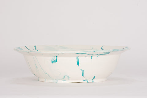 HT Low Bowl in Turquoise Marble