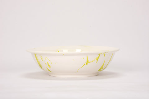 HT Low Bowl in Lime Green Marble