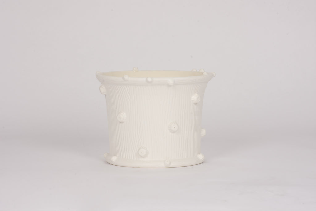 HT Medium Wide Faux Bois Cache Pot in Matte White