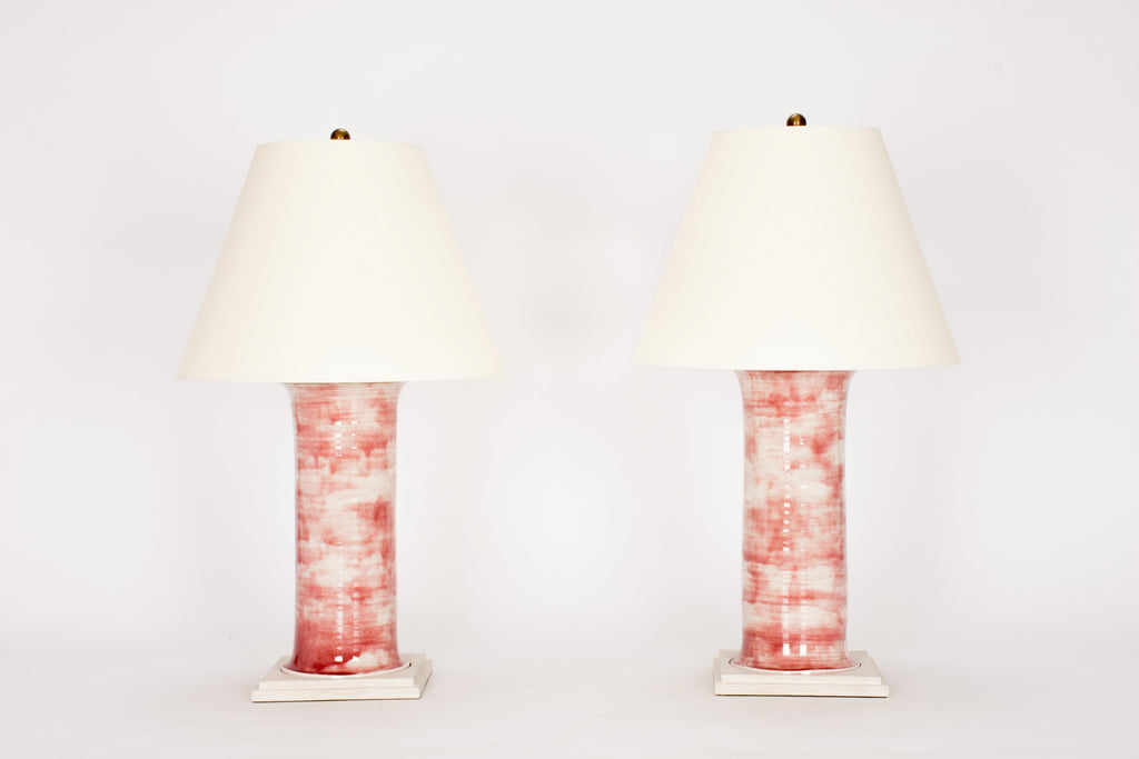 Pair of HT Medium Patricia Lamps in Mottled Cranberry