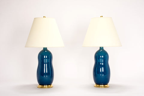 Pair of HT Peanut Lamps in Prussian Blue
