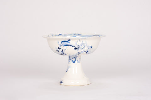 HT Deep Pedestal Bowl in Delft Blue Marble
