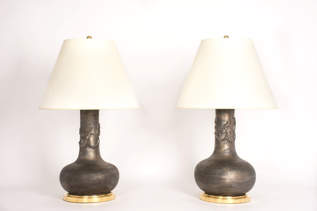 Pair of HT Serpentine Dragon Lamps in Matte Bronze