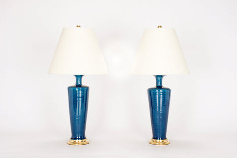 Pair of HT Small Vase Lamps in Prussian Blue