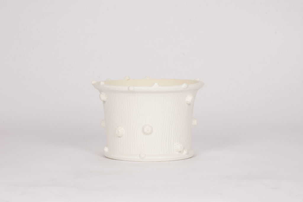 HT Small Wide Faux Bois Cache Pot in Matte White