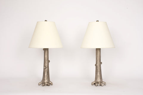 Pair of HT Tree Lamps in Platinum Luster