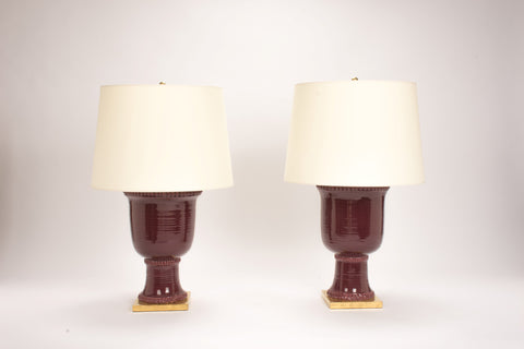 Pair of HT Urn Lamps in Claret
