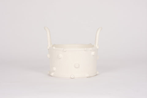 HT Wide Faux Bois Cache Pot in Matte White