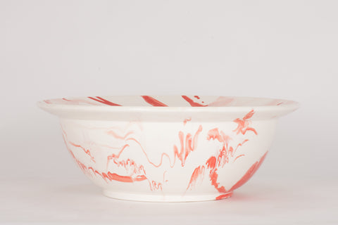 HT XL Low Bowl in Watermelon Marble