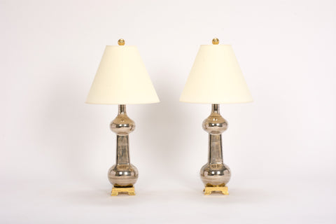 Pair of Hadley Bottle Lamps in Platinum Luster