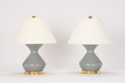 Pair of Hager Lamps in Blue Grey