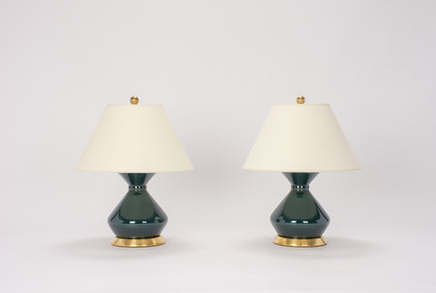 Pair of Hager Lamps in Peacock