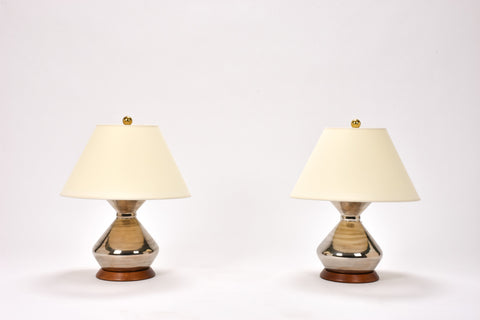 Pair of Hager Lamps in Platinum Luster