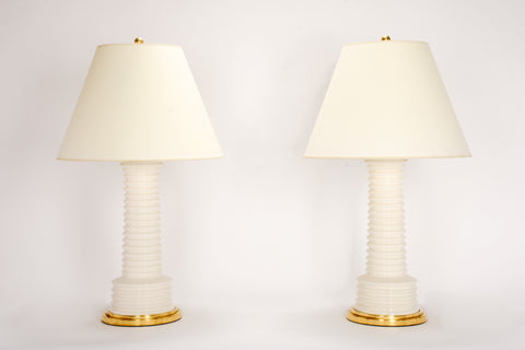Pair of Harry Lamps in Blanc de Chine