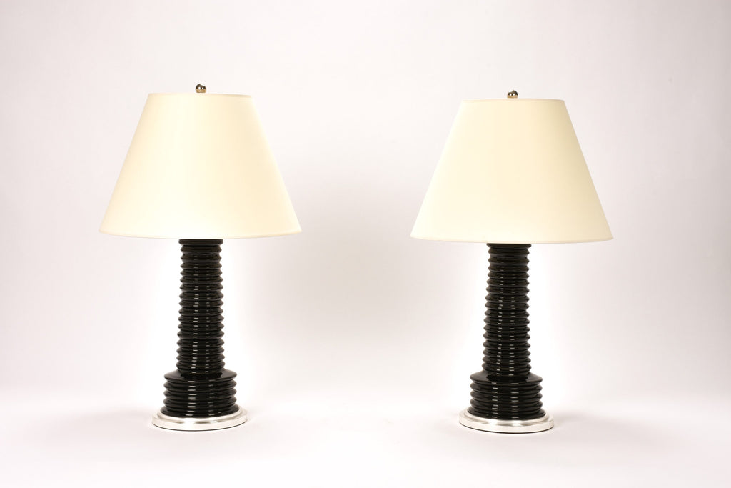 Pair of Harry Lamps in Jet Black