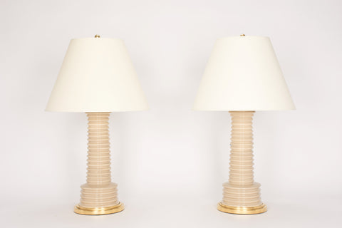Pair of Harry Lamps in Warm Beige