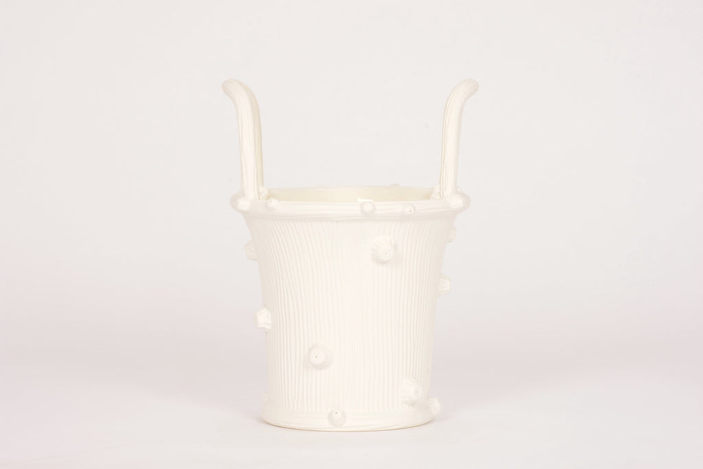 Large Faux Bois Cache Pot in Matte White