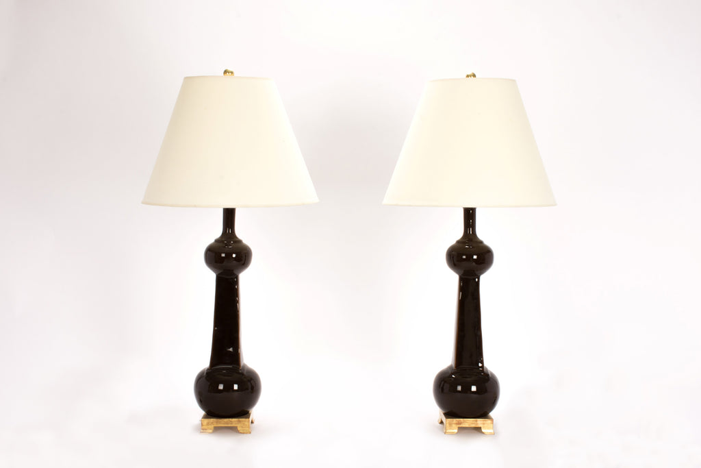 Pair of Large Hadley Lamps in Walnut