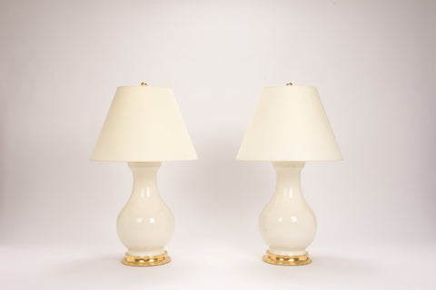 Pair of Large Hann Lamps in Blanc de Chine
