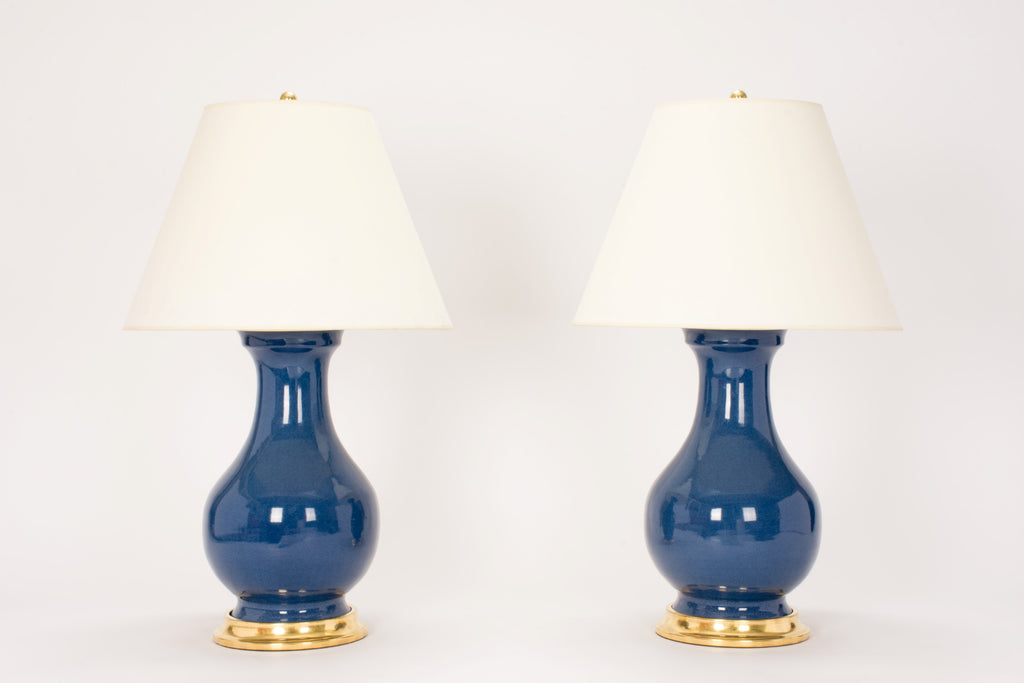Pair of Large Hann Lamps in Blue Suede