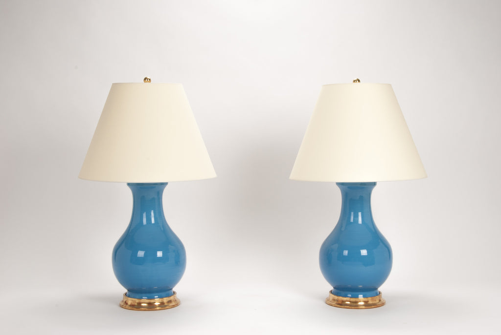 Pair of Large Hann Lamps in Cornflower