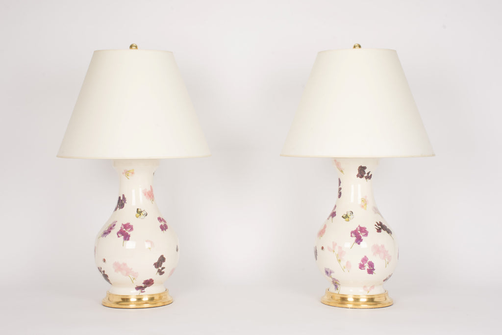 Pair of Large Hann Lamps in Sweet Pea