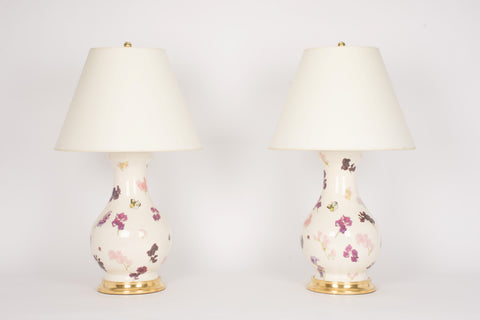 Pair of Large Hann Lamps in Sweet Peas