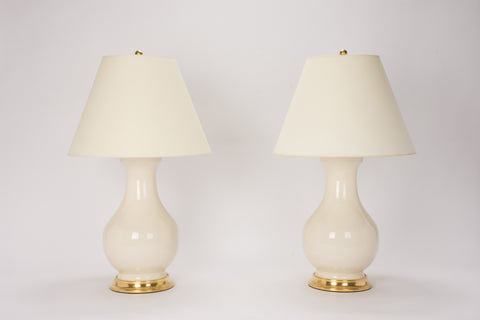 Pair of Large Hann Lamps in Tea Stain Crackle