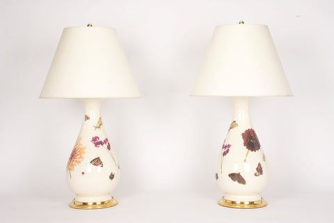 Pair of Large Louisa Lamps in Sweet Pea and Dahlia Decals
