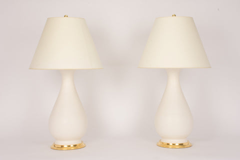 Pair of Large Louisa Lamps in Matte White
