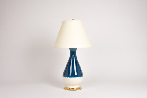 Single Large Louisa Lamp in Prussian Blue Ombre