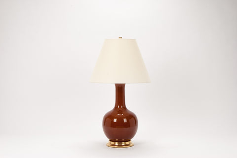 Single Large Single Gourd Lamp in Amber