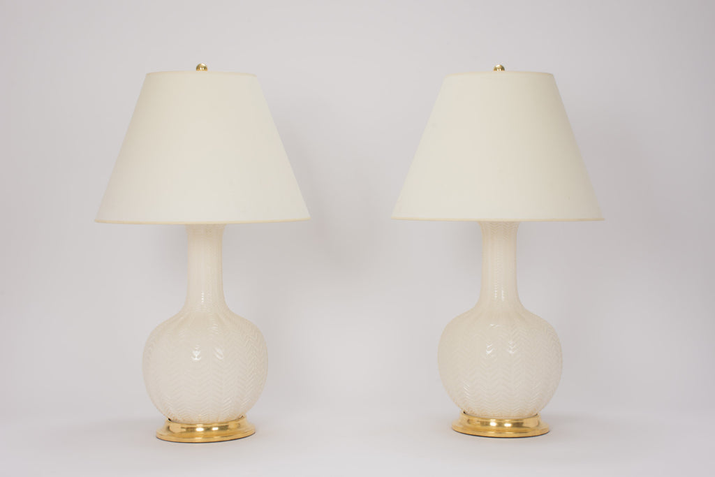 Pair of Large Single Gourd Lamps with Herringbone in Clear