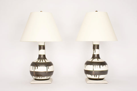 Pair of Large Single Gourd Lamps in Matte White with Matte Bronze Stripes