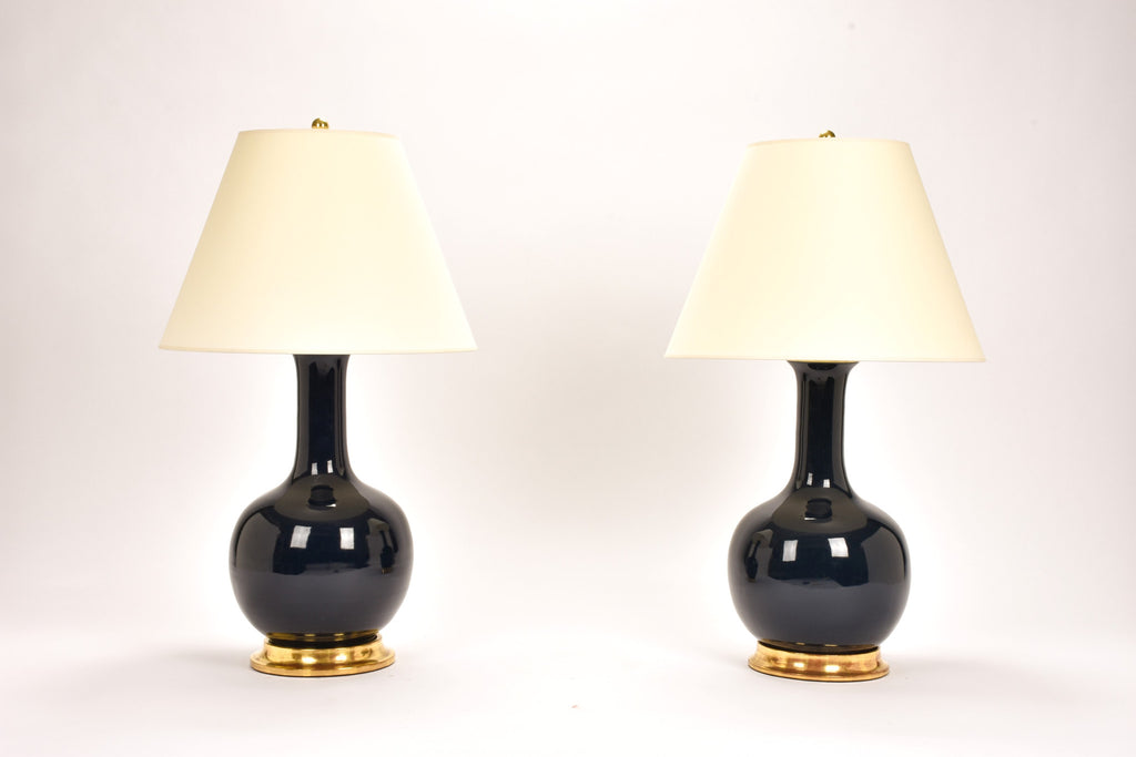 Pair of Large Single Gourd Lamps in Navy