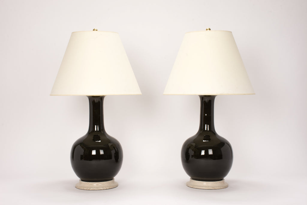 Pair of Large Single Gourd Lamps in Olive
