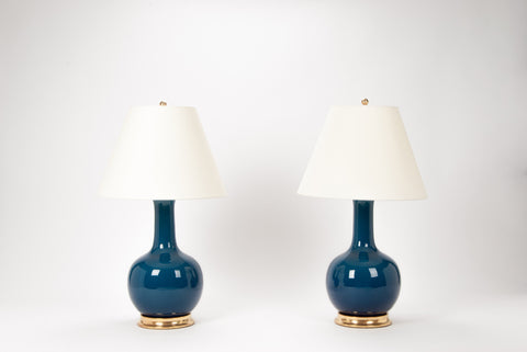 Pair of Large Single Gourd Lamps in Prussian Blue