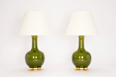 Pair of Large Single Gourd Lamps in Spruce