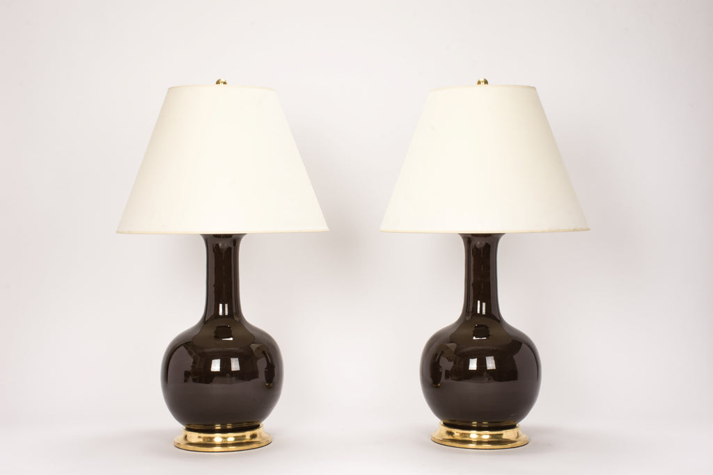 Pair of Large Single Gourd Lamps in Walnut