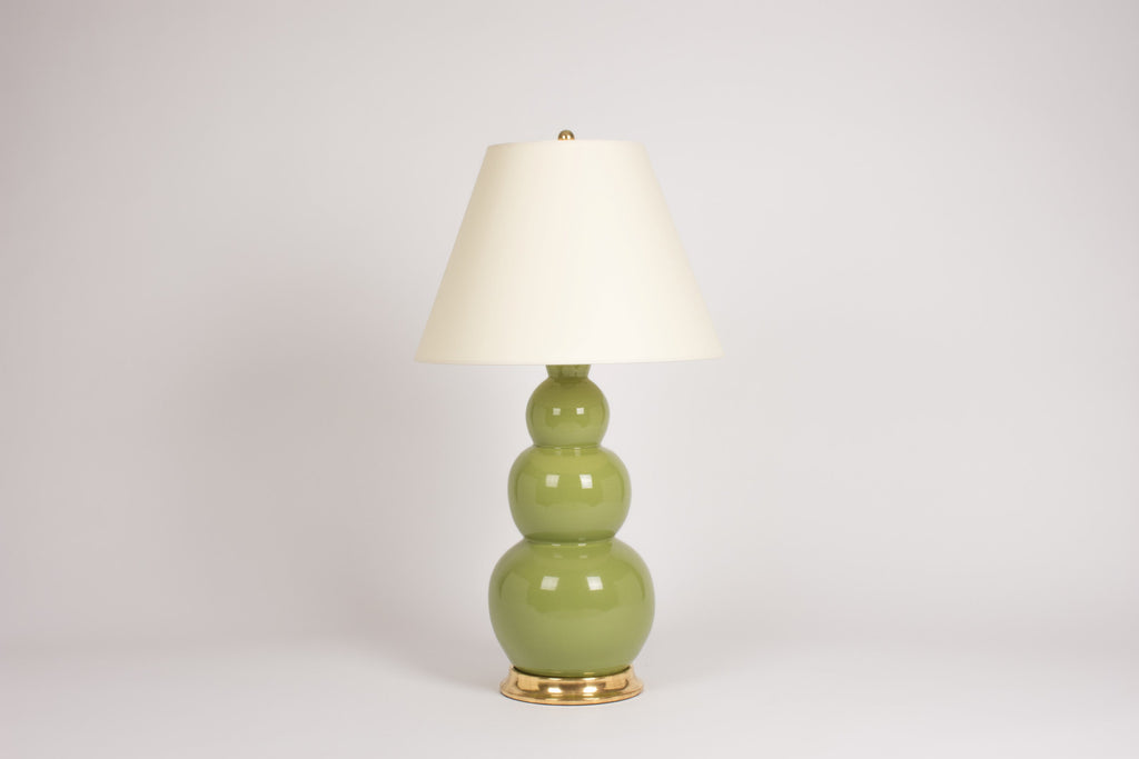 Single Large Three Ball Lamp in Avocado