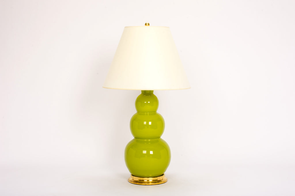 Single Large Three Ball Lamp in Chartreuse